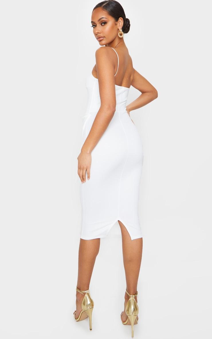 White Bow Front Detail Midi Dress 2