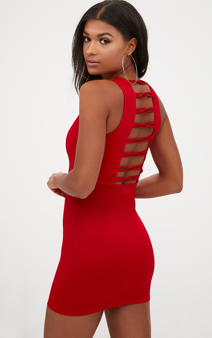 Red Loop Detail Sleeveless Bodycon Dress 1