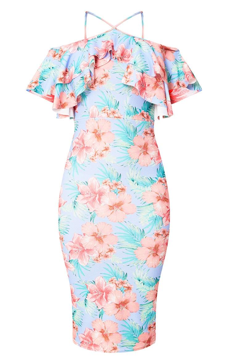 Dusty Blue Floral Cold Shoulder Frill Detail Midi Dress 3