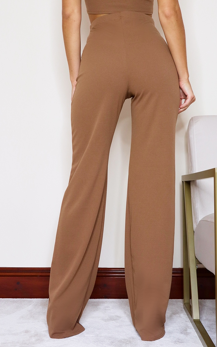 Camel Crepe High Waisted Wide Leg Trousers 3