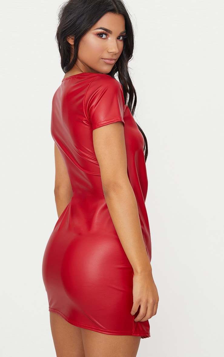 Red Short Sleeve Wrap Over PU Bodycon Dress 2