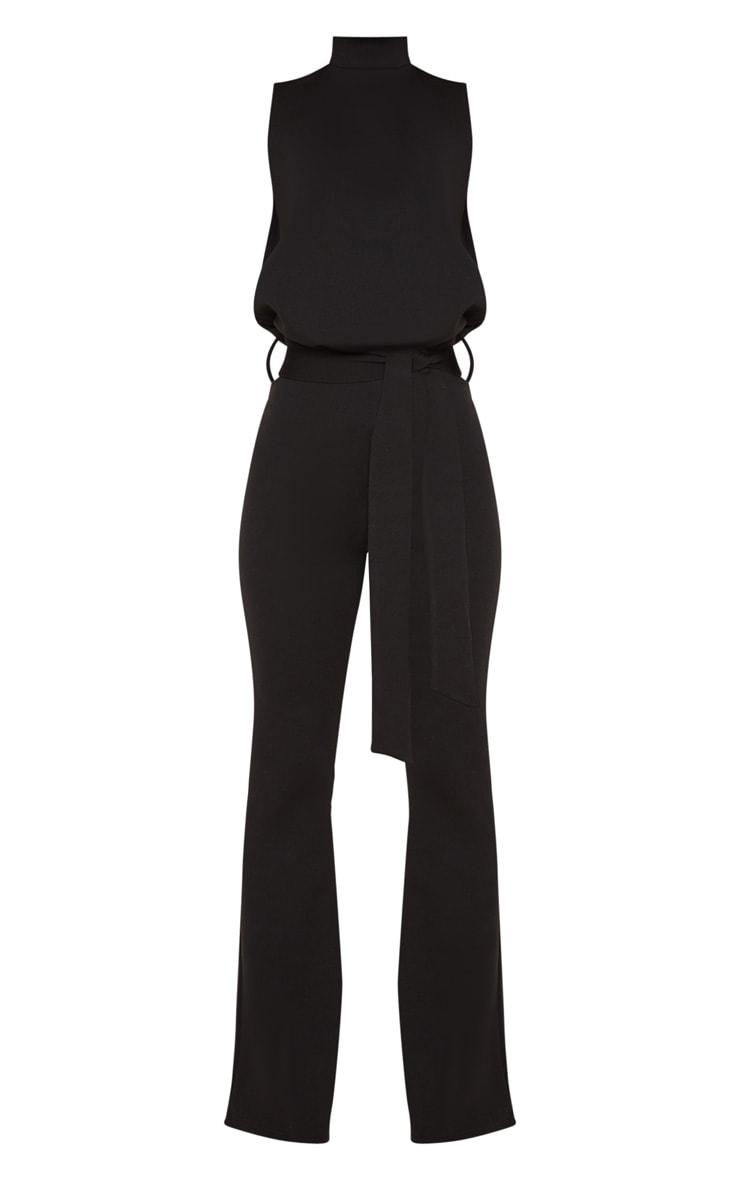Petite Black Scuba High Neck Tie Waist Jumpsuit 3