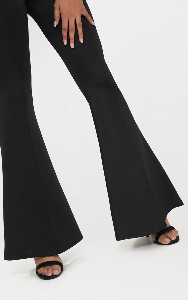 Petite Black High Waist Extreme Flare Trousers 5