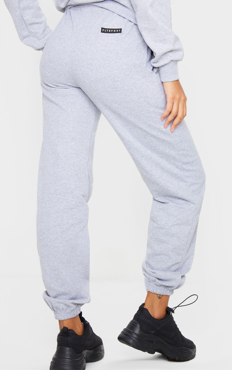 PRETTYLITTLETHING Grey Badge Detail Sport Joggers 4