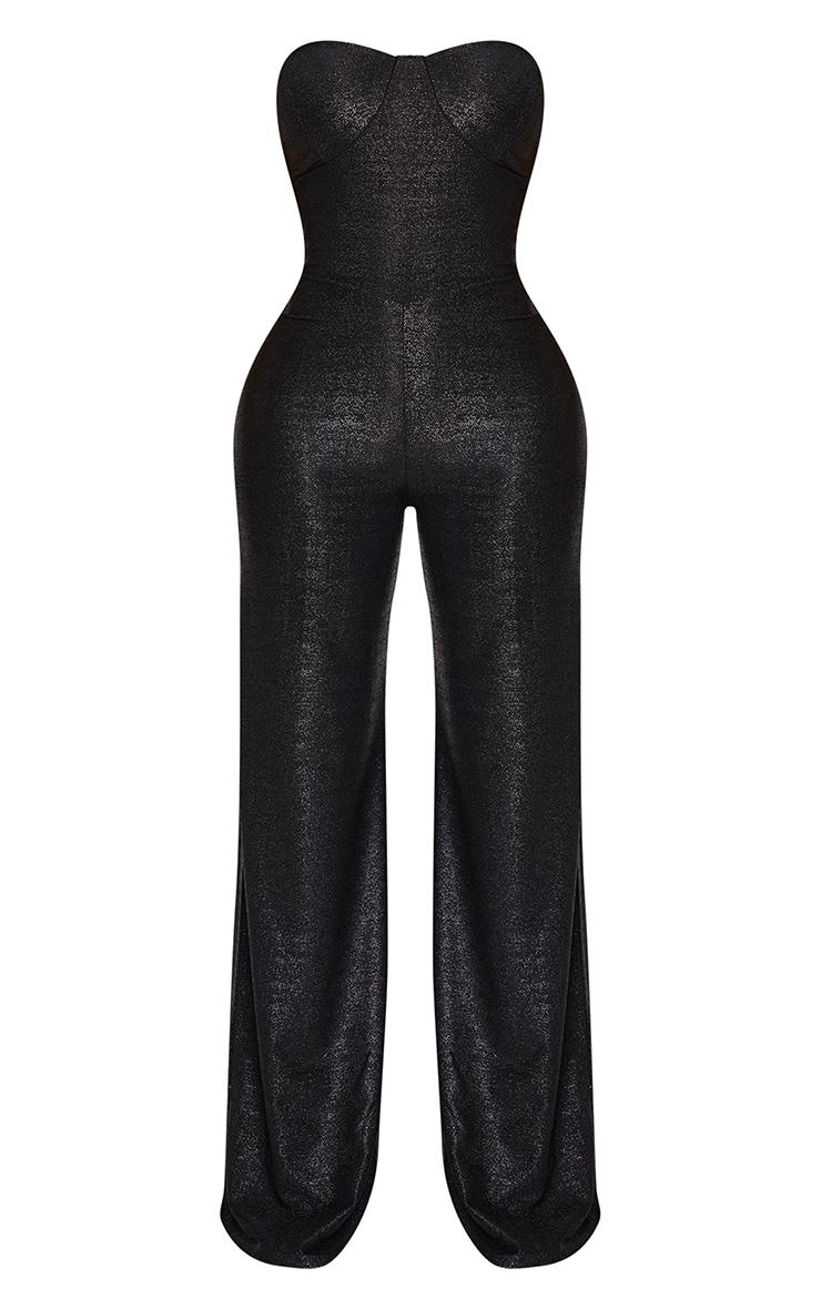 Shape Black Glitter Wide Leg Cup Detail Jumpsuit 3