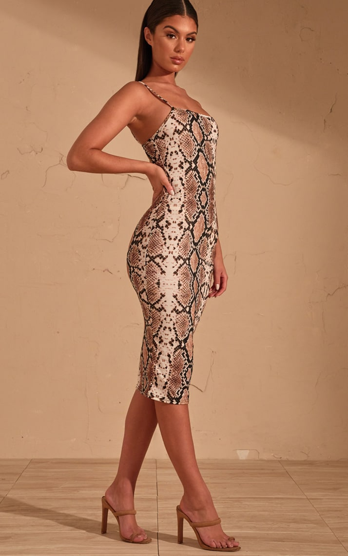 Beige Snake Print Strappy Midi Dress 4