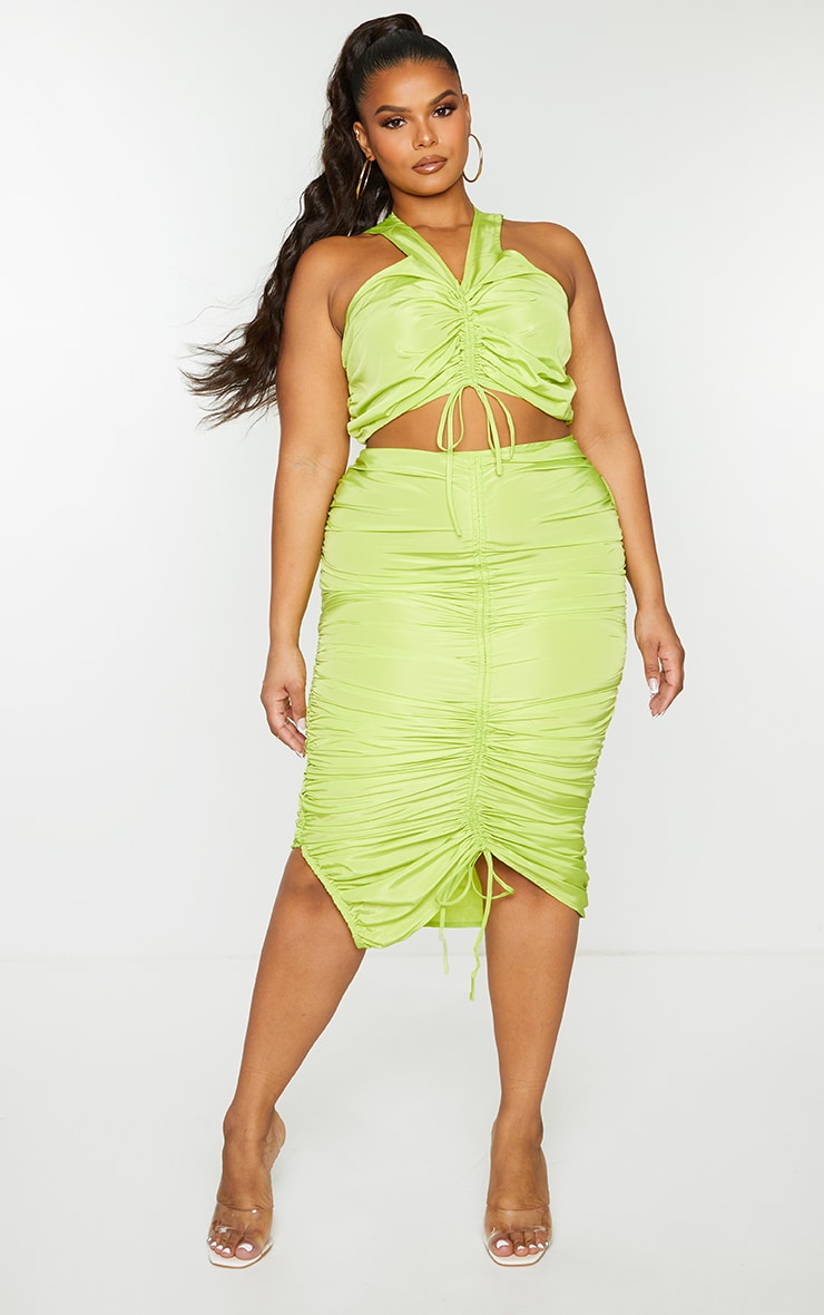 Plus Dark Lime Shell Ruched Front Midi Skirt