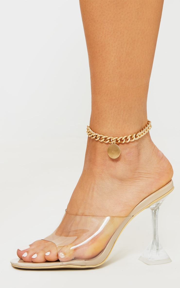 Gold Chunky Chain Disc Charm Anklet 1