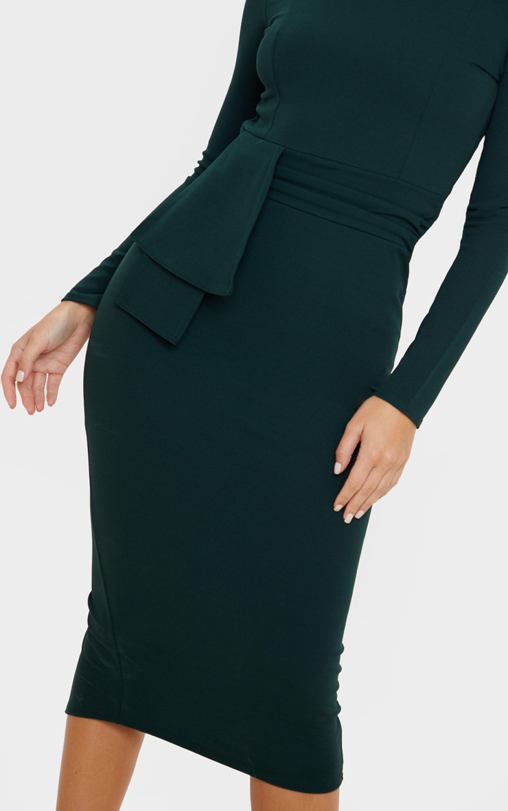 Emerald Green Long Sleeve Wrap Waist Midi Dress 5