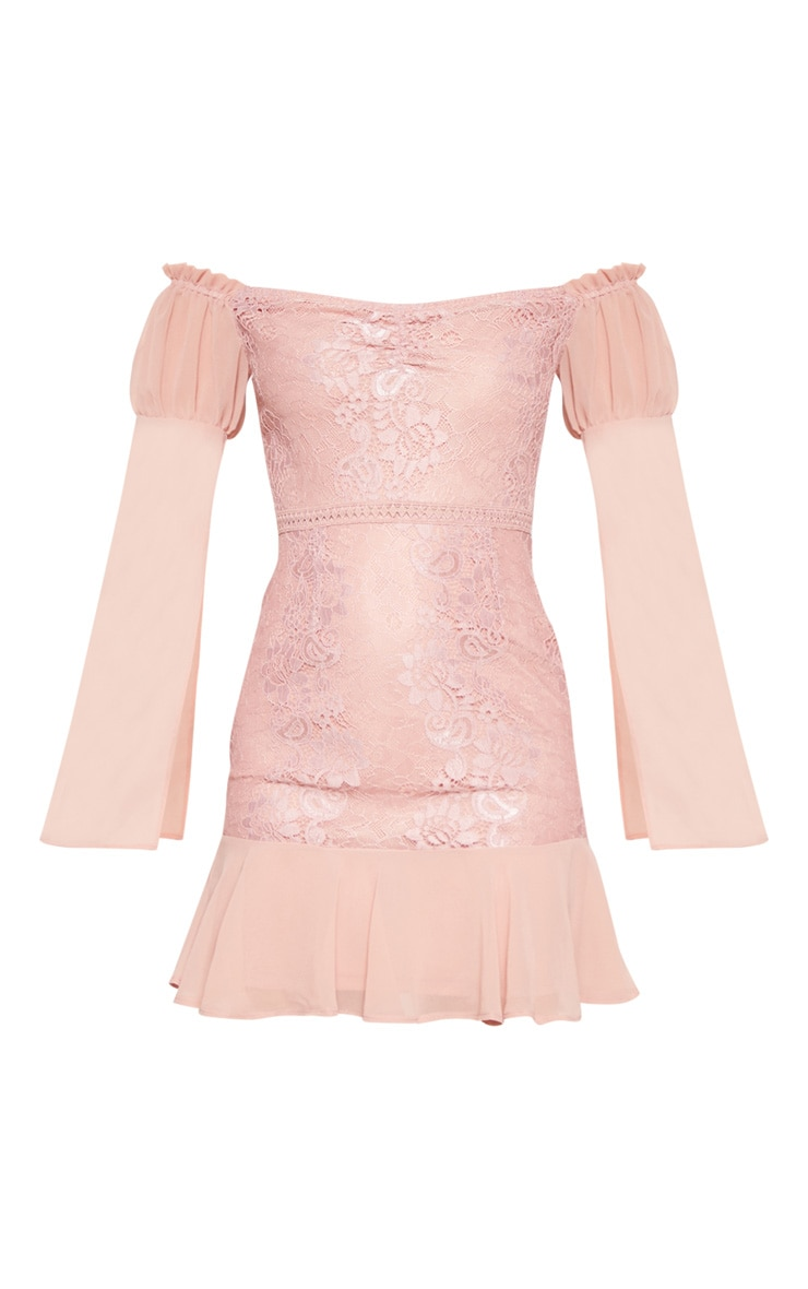 Rose Lace Puff Sleeve Frill Detail Bodycon Dress  3