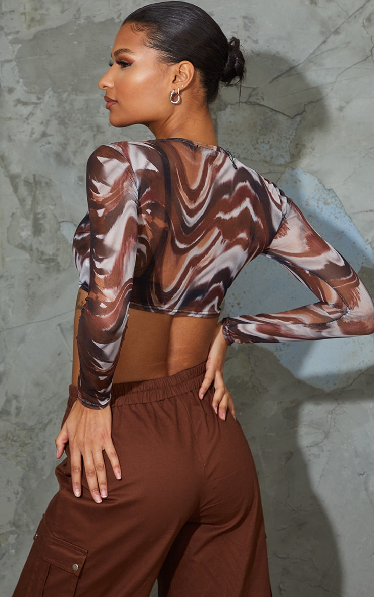 Beige Swirl Print Mesh Long Sleeve Crop Top 2