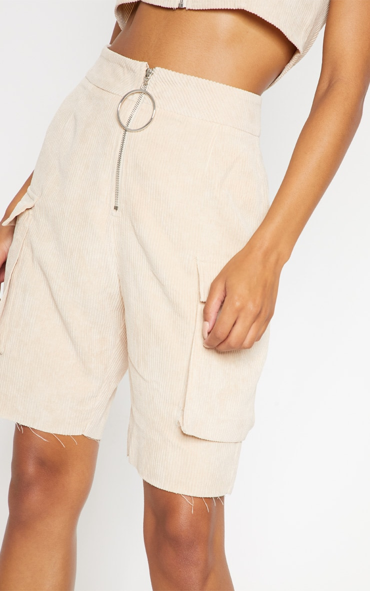 Cream Cord Boyfriend Fit Shorts 6