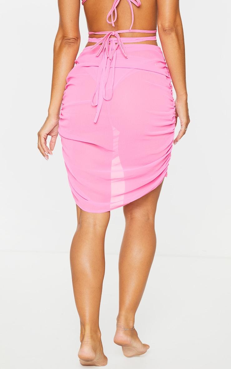 Hot Pink Tie Waist Ruched Beach Skirt 3