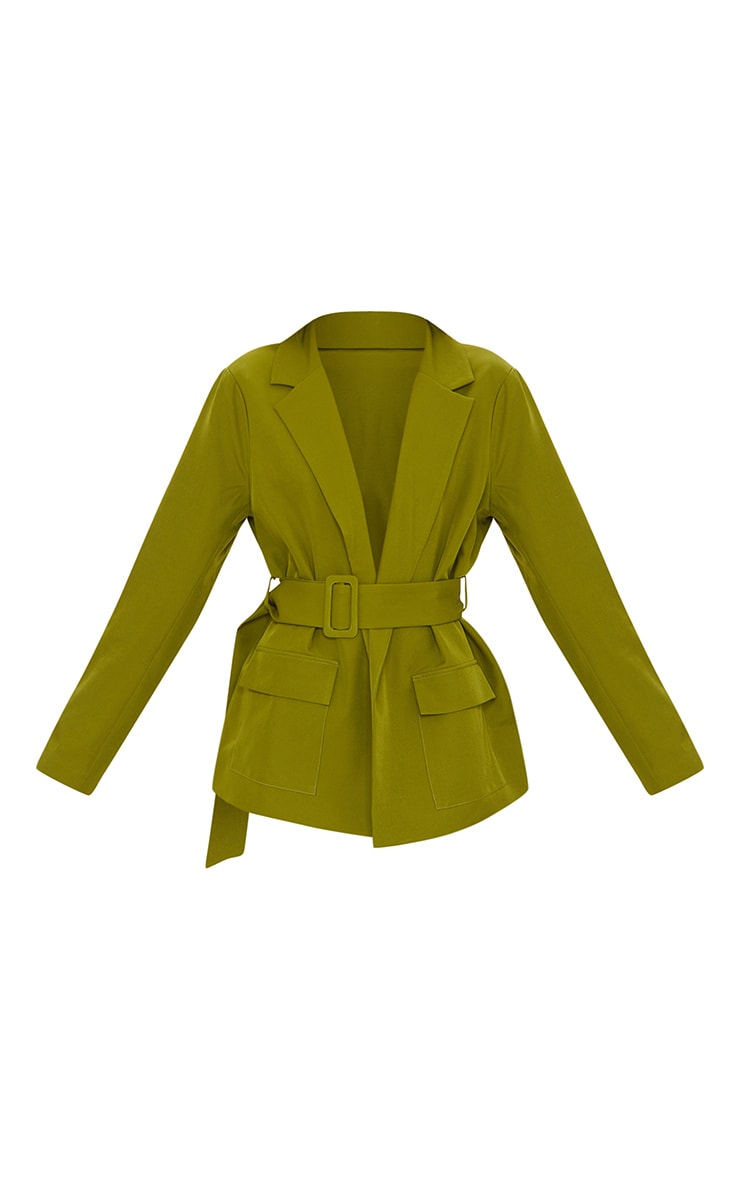 Sage Green Covered Buckle Belted Woven Blazer 5