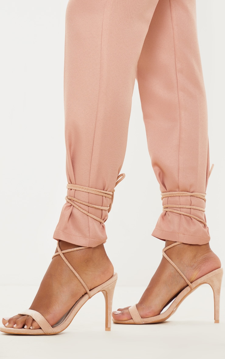 Nude Barely There Ankle Tie Strappy Sandal 2