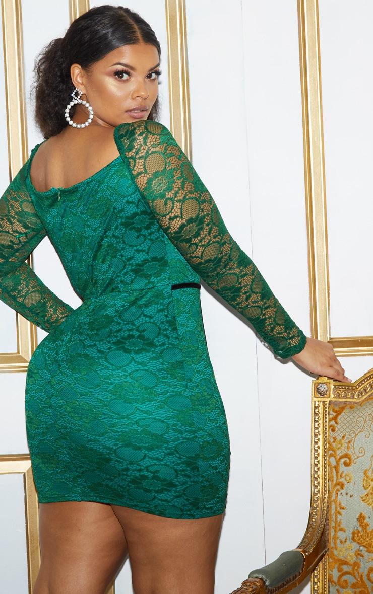 Plus Green Lace Puff Sleeve Binding Bodycon Dress 4