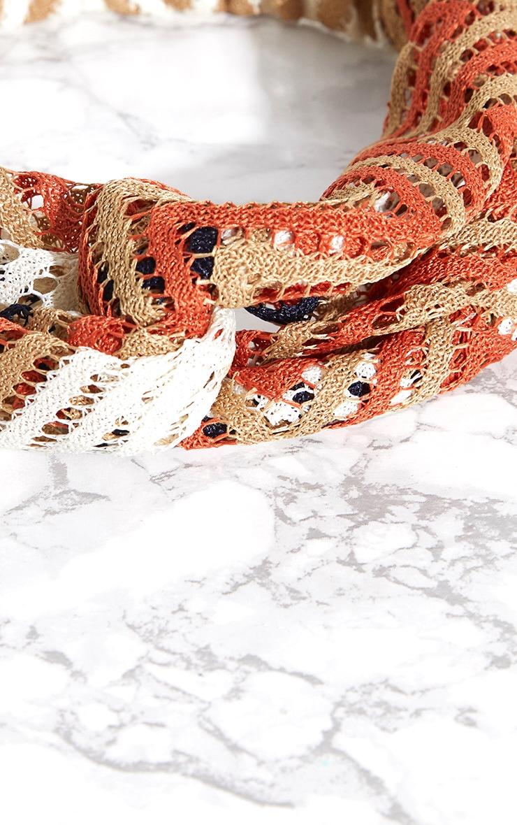 Orange Chevron Crochet Headband 4