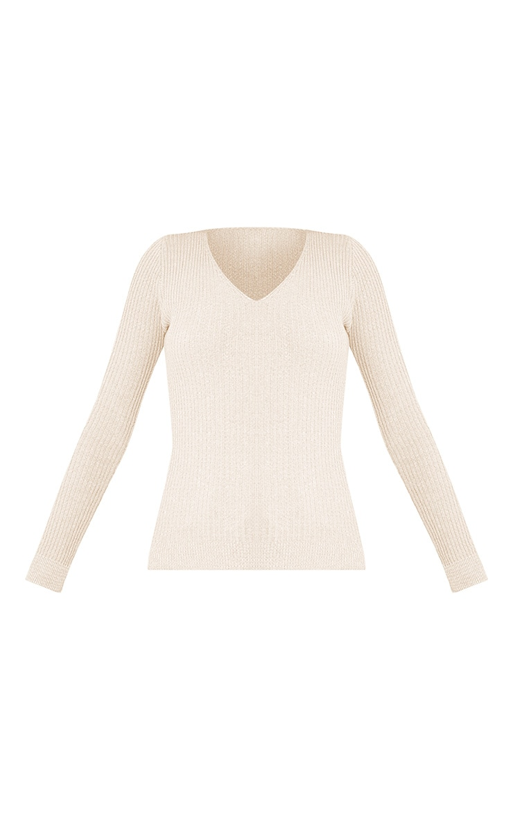 Skylah Cream Ribbed V Neck Jumper 3