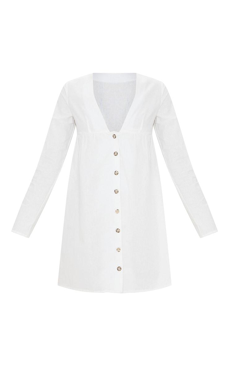 White Linen Button Down V Neck Shift Dress 5