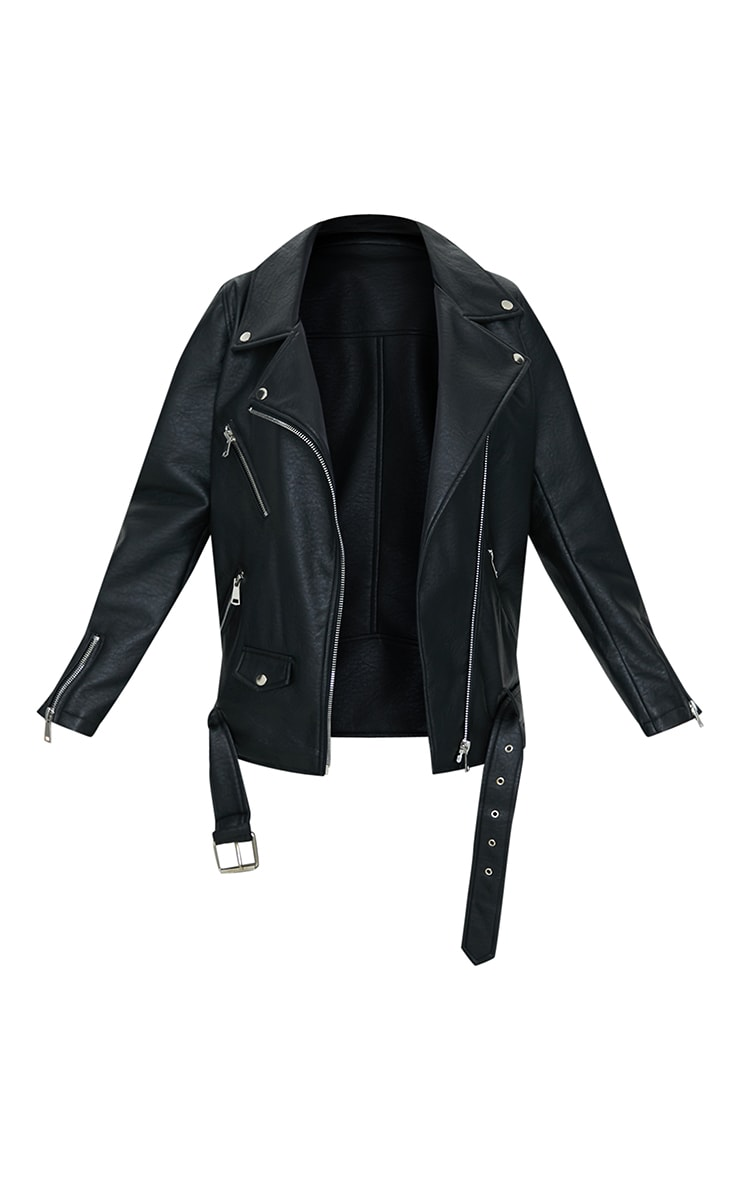 Black Oversized Faux Leather Zip Detail Biker Jacket 5