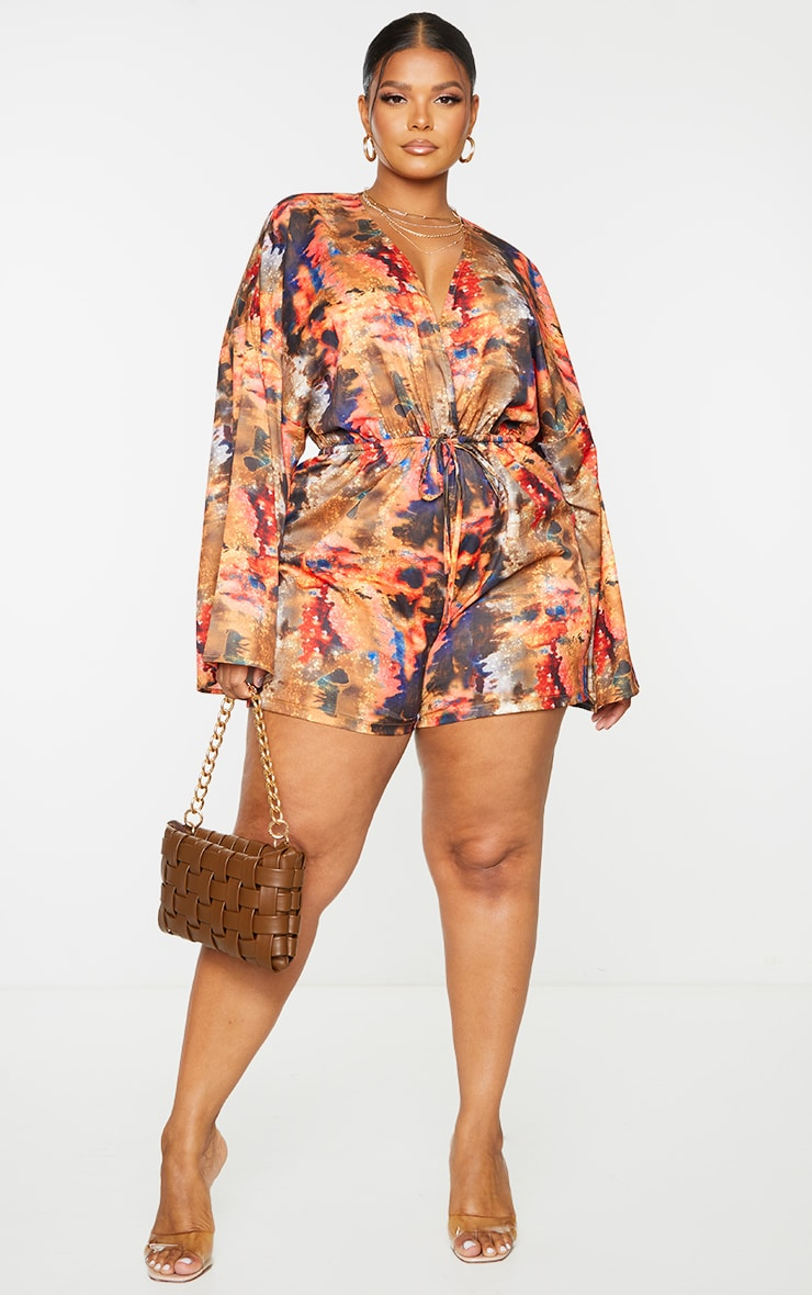 Plus Red Abstract Print Flare Sleeve Romper 1