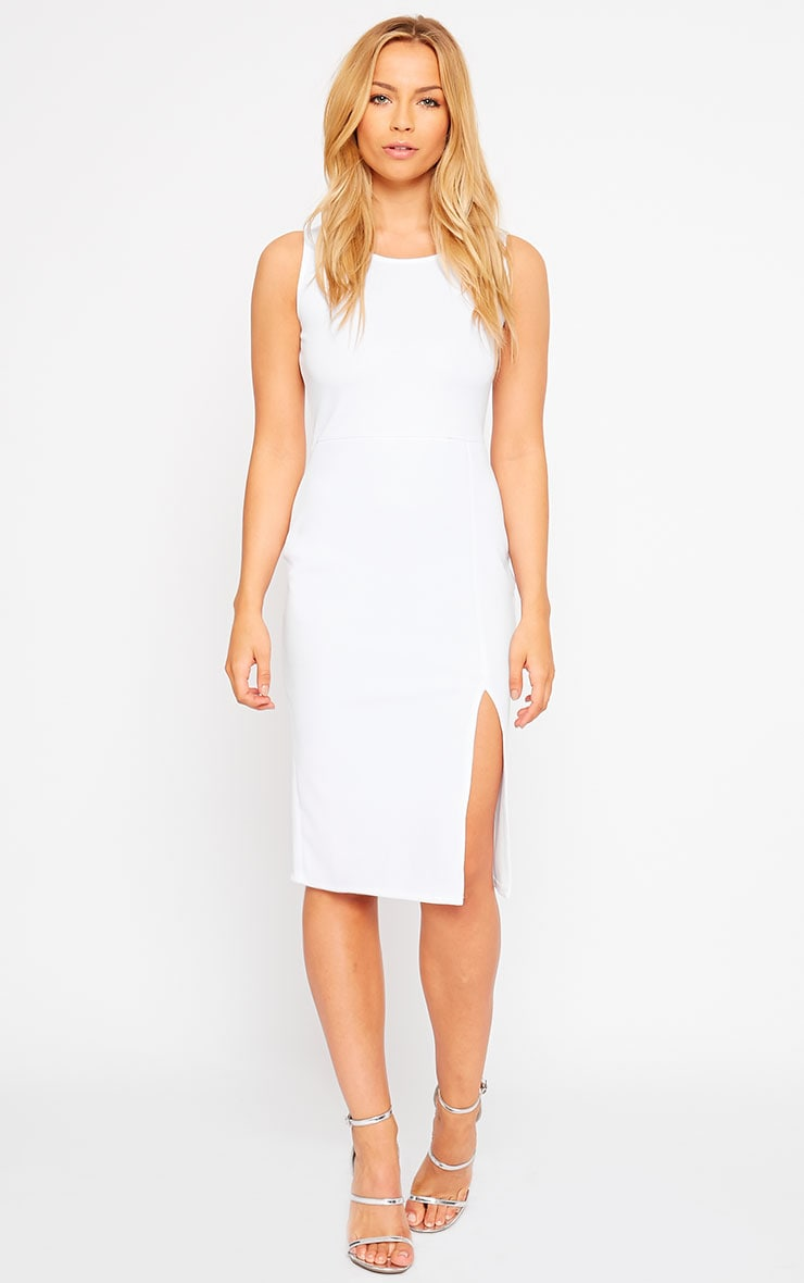 Holly White Thigh Split Midi Dress 4
