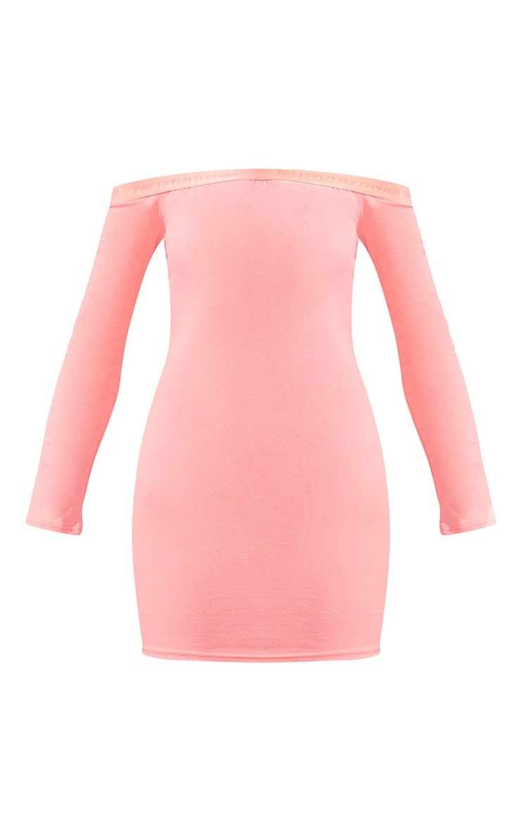 PRETTYLITTLETHING Coral Bardot Long Sleeve Bodycon Dress 5