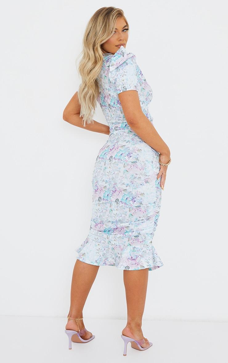 Multi Floral Print Puff Sleeve Ruched Frill Hem Midi Dress 2
