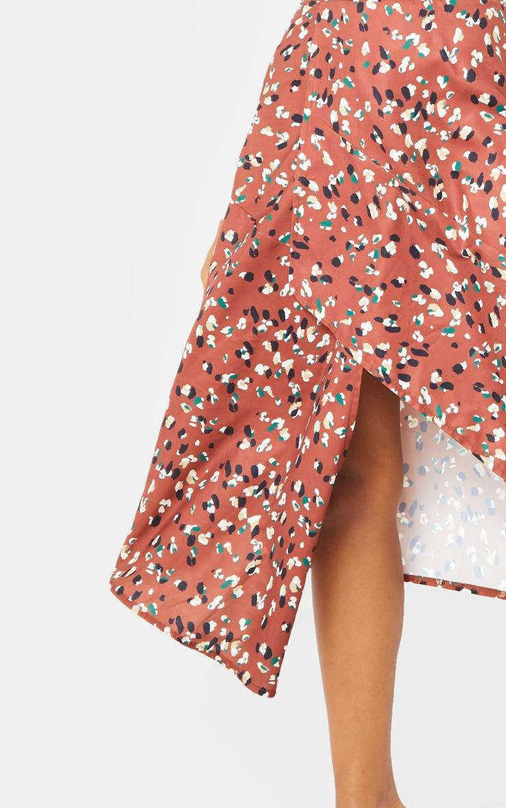 Tan Asymmetric Leopard Print Wrap Midi Skirt 4