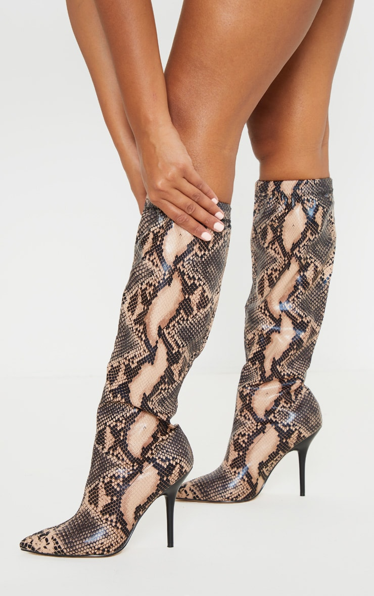 Brown Snake Slouch Knee Boot 2