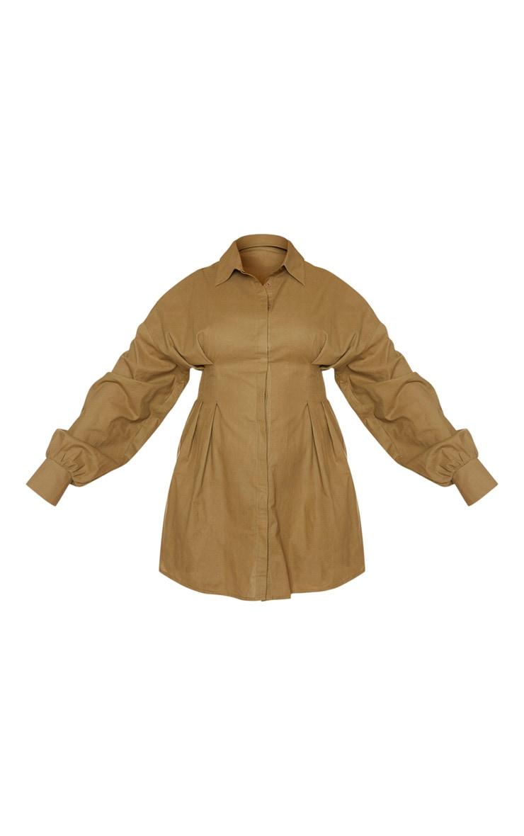 PLT Plus - Robe chemise kaki à détail plissé et manches ballon 5