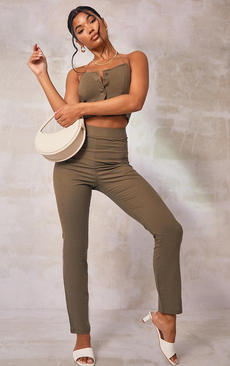 Khaki Woven Linen Straight Leg Pants 1