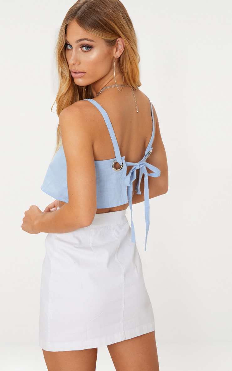Blue Linen Feel Ring Detail Open Back Crop Top 1