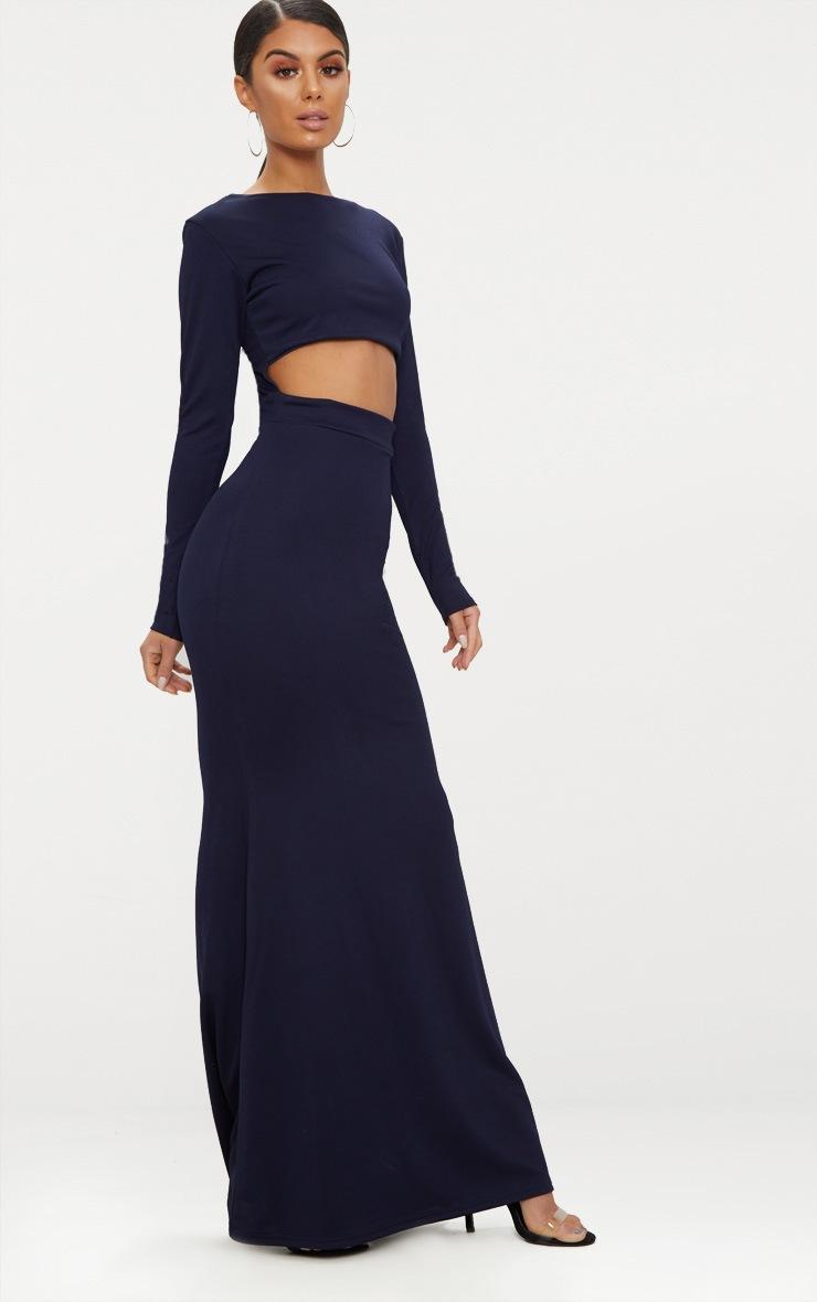 Navy Cut Out Detail Long Sleeve Maxi Dress 4