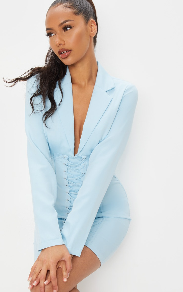 Baby Blue Long Sleeve Corset Lace Up Blazer Style Bodycon Dress 4
