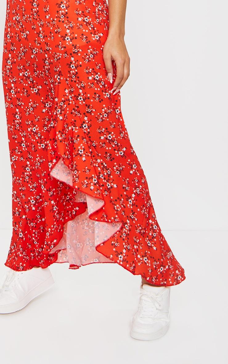 Red Ditsy Floral Frill Hem Wrap Maxi Skirt 4