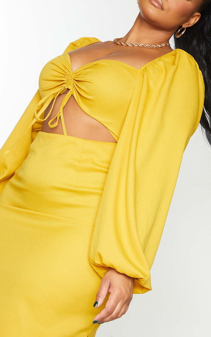 Plus Mustard Cut Out Ruched Bust Puff Sleeve Midi Dress 4