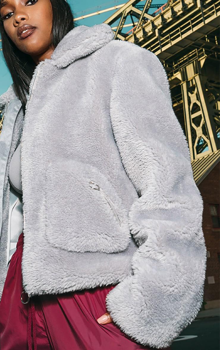 Grey Teddy Faux Fur Pocket Front Jacket 4