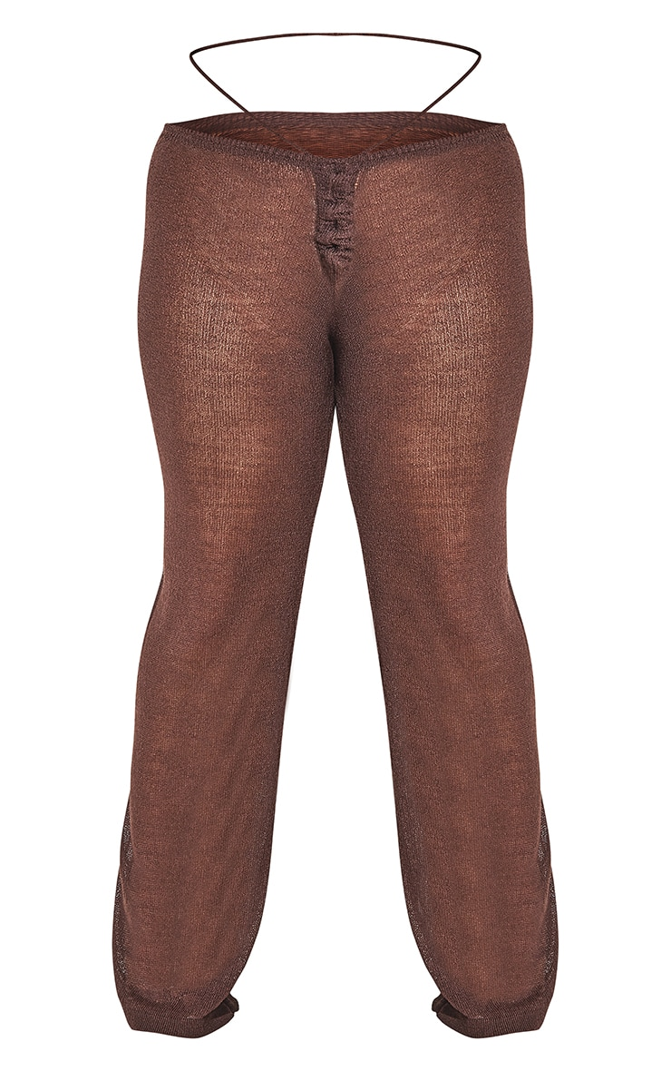 Plus Chocolate Tie Waist Detail Sheer Knit Flare Pants 8