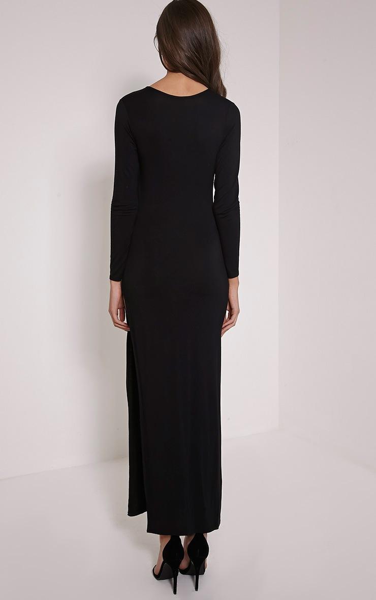 Basic Black V Neck Maxi Dress 2