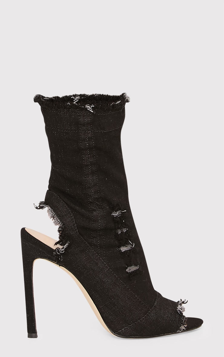 Meganna Black Ripped Denim Cut Out Ankle Boots 2