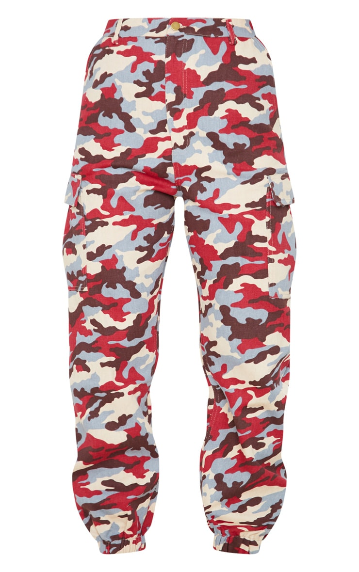 Red Camo Pocket Detail Cargo Trousers 4