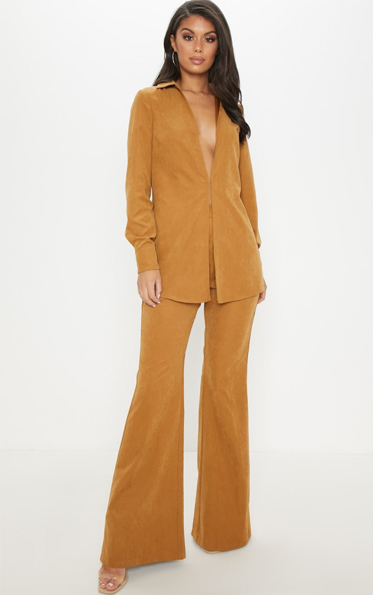 Tan Faux Suede Wide Leg Trouser 1