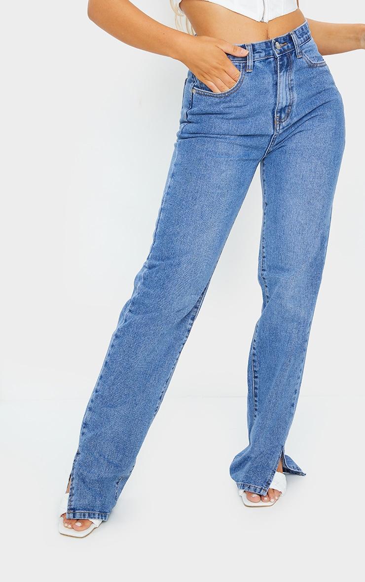 Mid Blue Wash Split Hem Jeans With Bum Distress 2