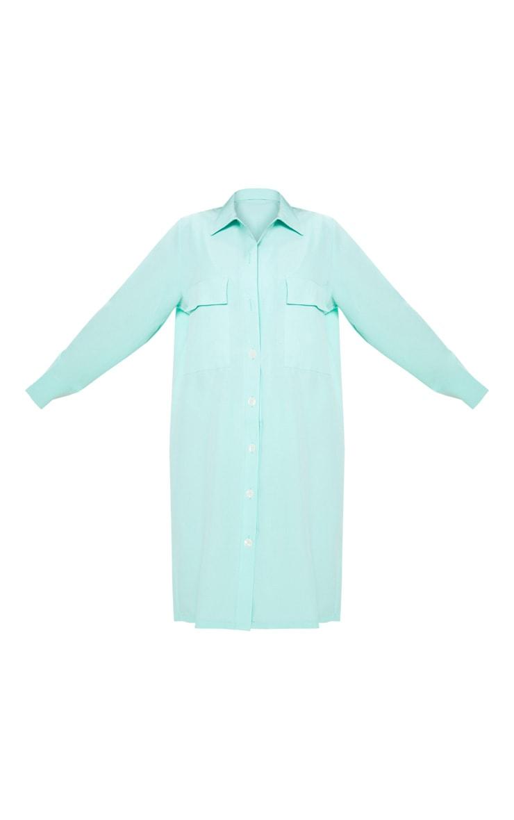 Petite - Chemise longue vert menthe à poches 3