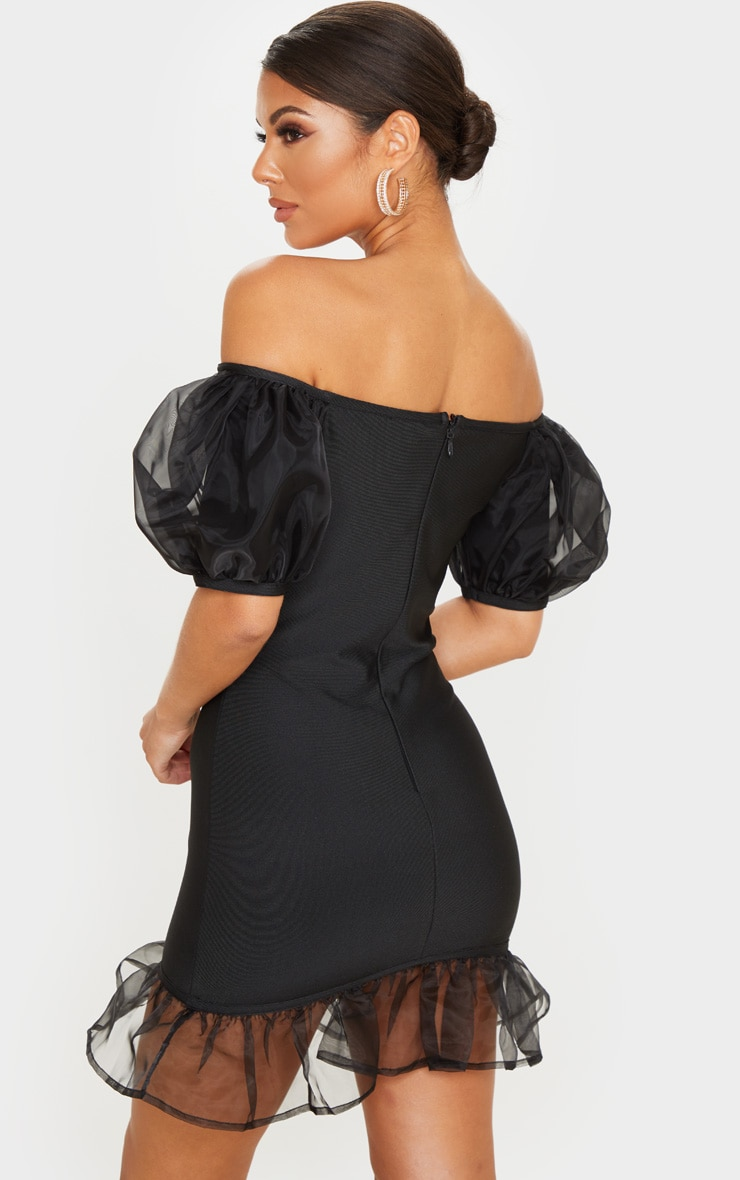 Black Bandage Chiffon Frill Puff Sleeve Bodycon Dress 2