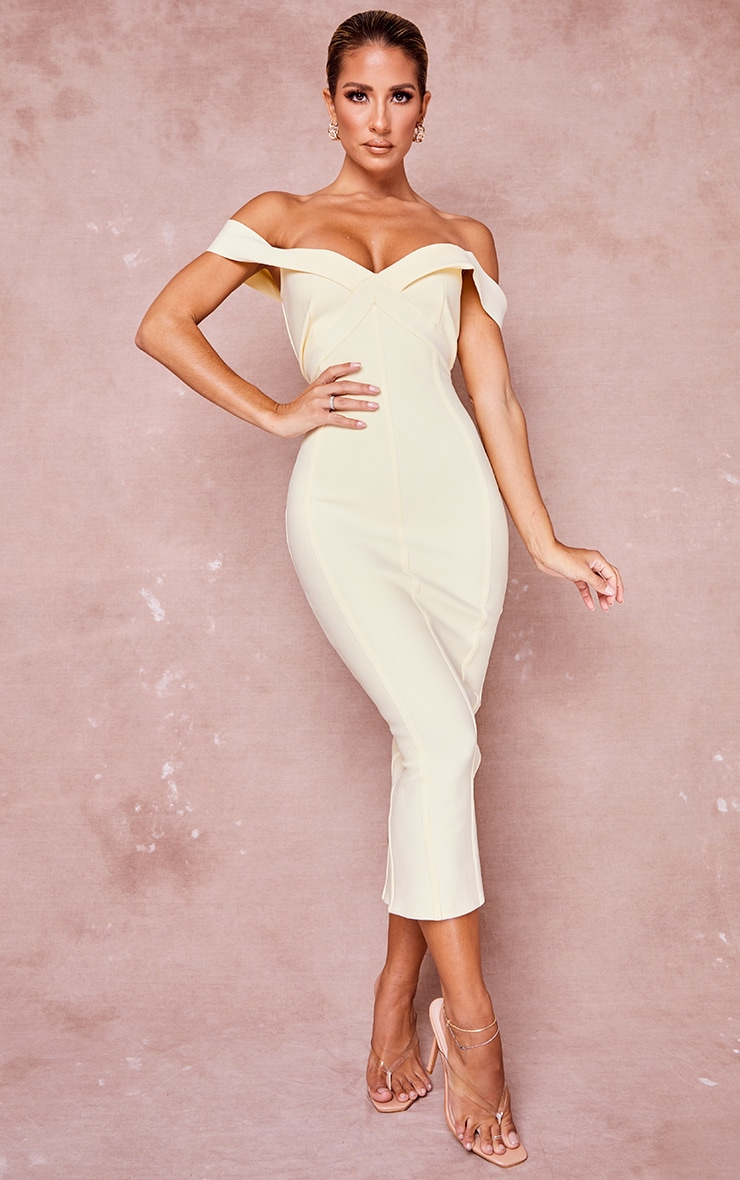 Cream Bandage Bardot Binded Midi Dress 1