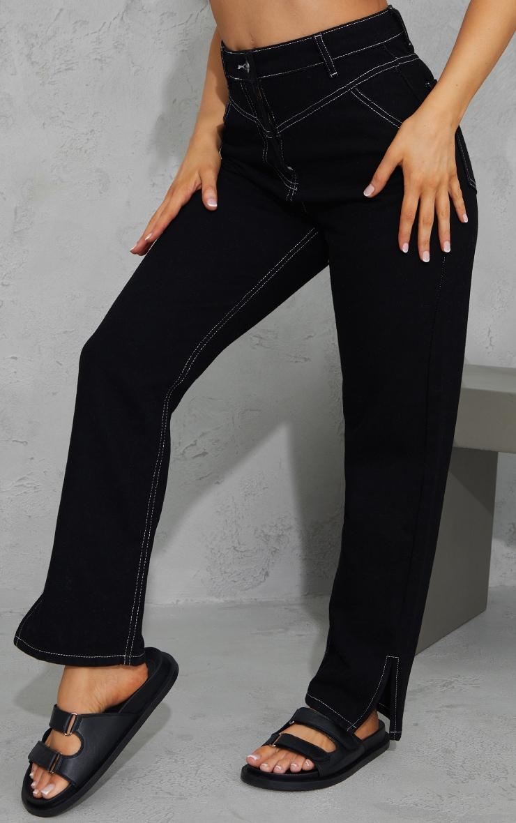 Black With White Contrast Stitch Split Hem Mom Jeans 2