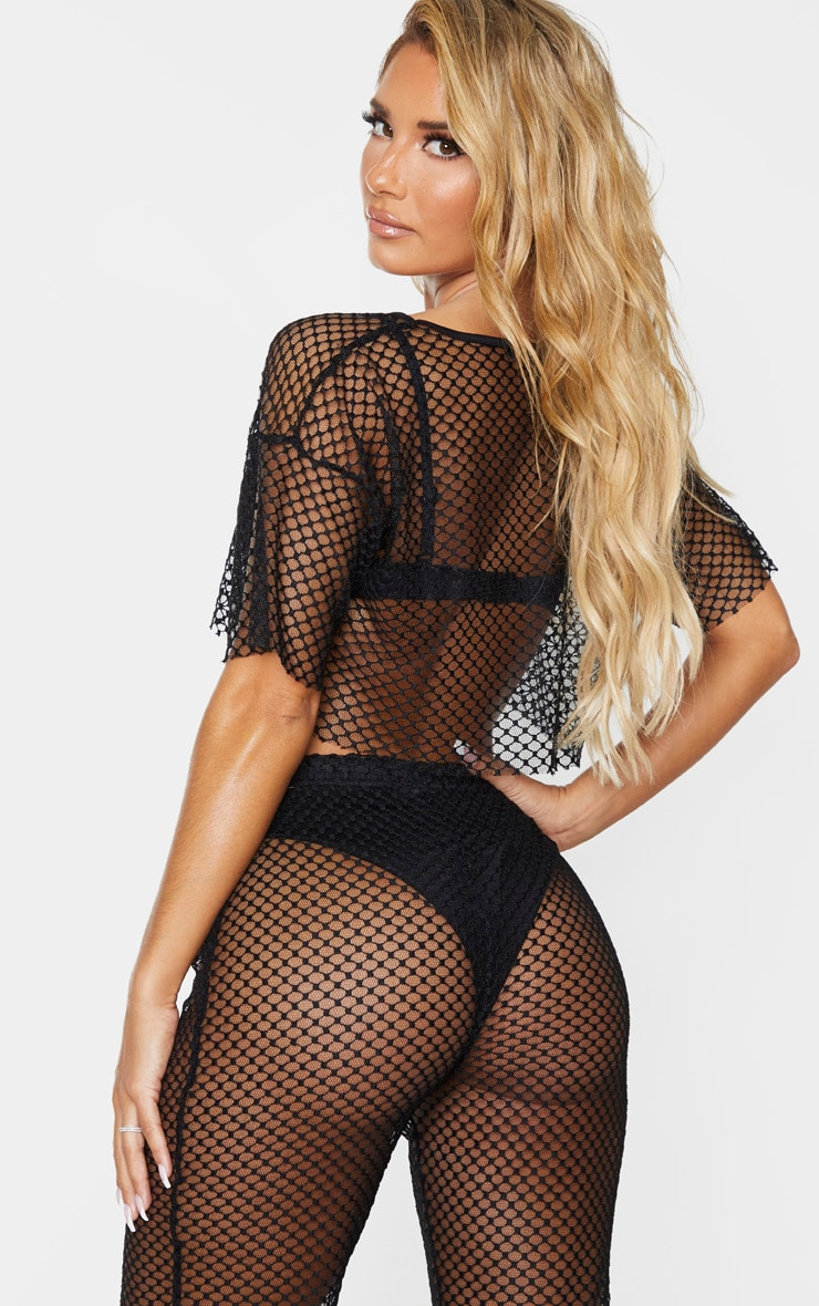 Black Crochet Fishnet Beach Crop Top 2