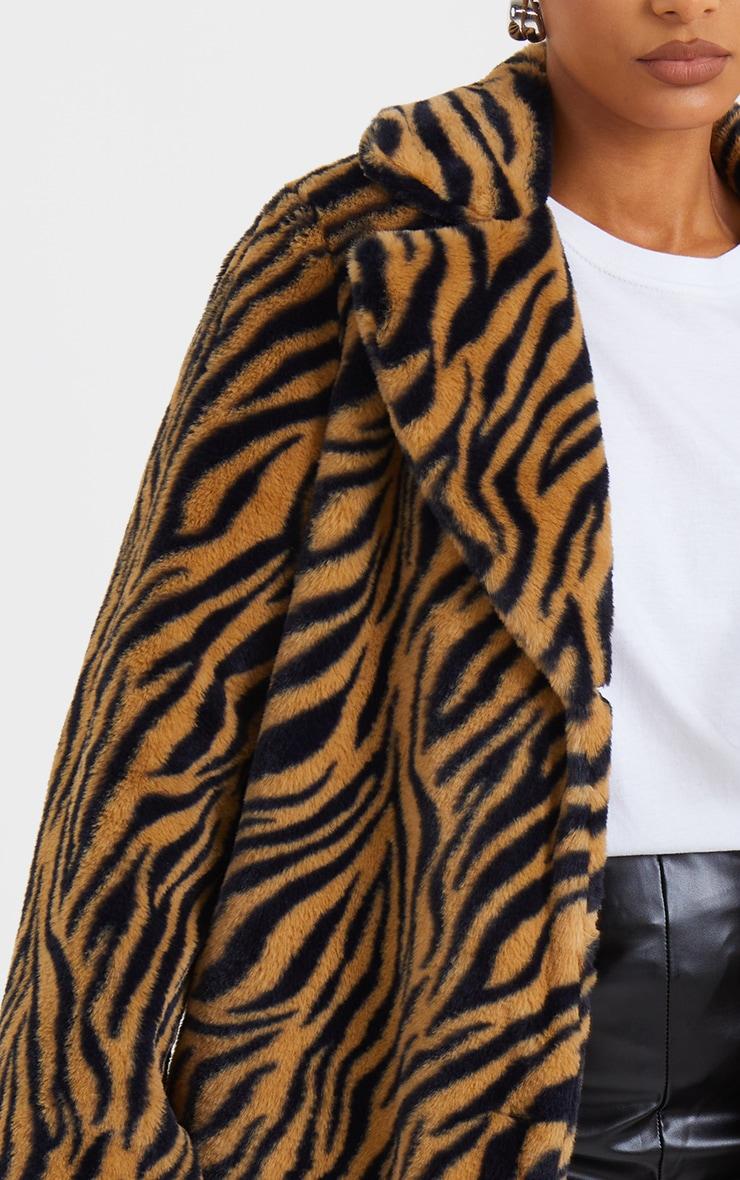 Brown Faux Fur Tiger Print Coat 4